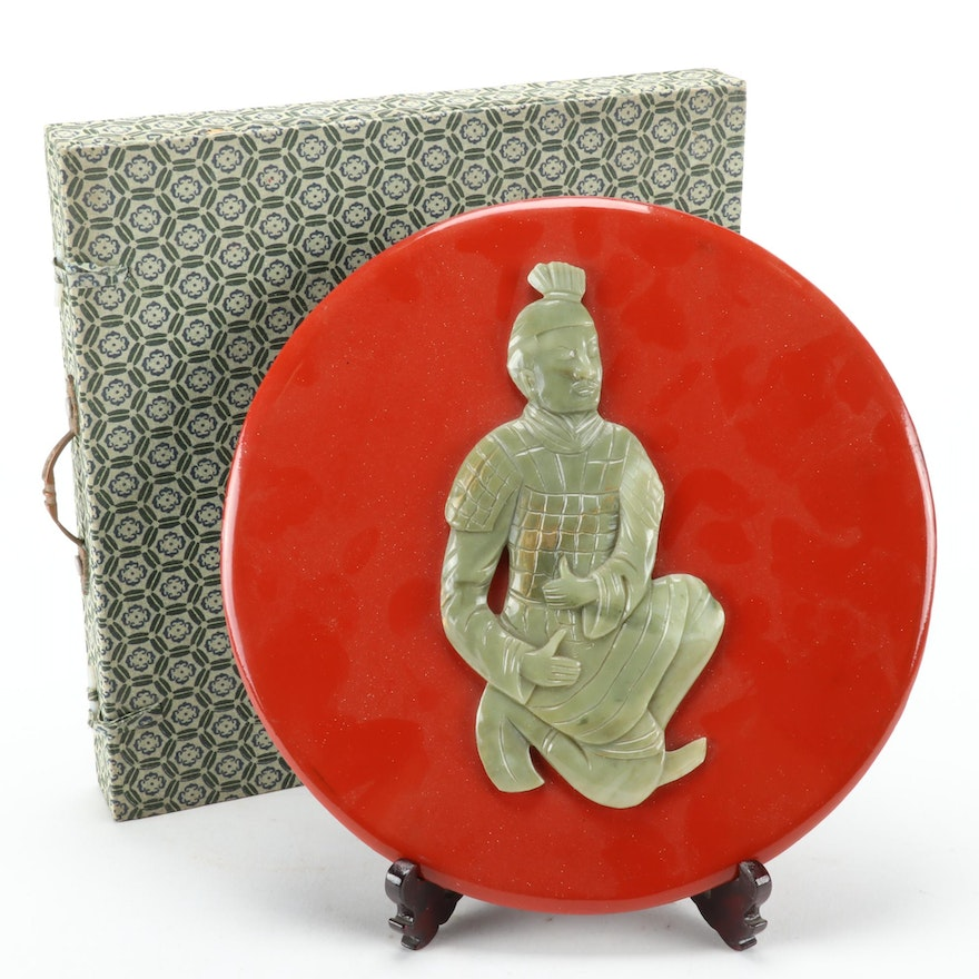 Chinese Lacquerware Plaque of Gilt Stone Warrior with Wood Plate Stand and Box
