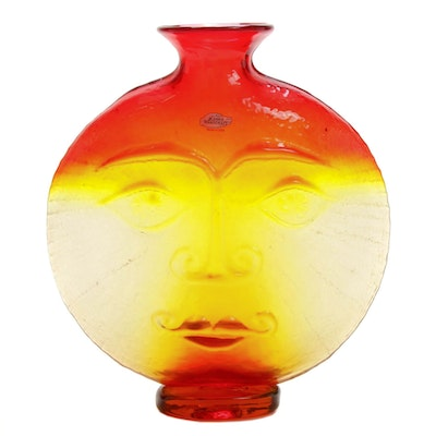 Blenko Glass Sun Face Vase, Late 20th Century