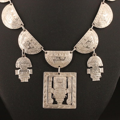 Signed Mesoamerican 900 Silver Necklace