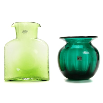 Blenko Green Glass Vases, Late 20th Century