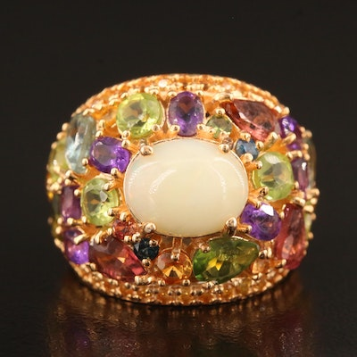 Sterling Domed Cluster Ring with Opal, Peridot, Citrine and Aquamarine