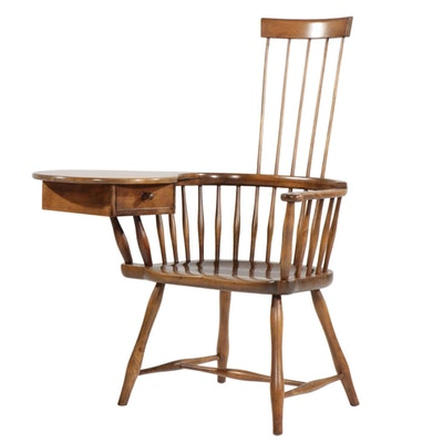 Hickory-Stained Comb Back Windsor Writing Chair, 20th Century