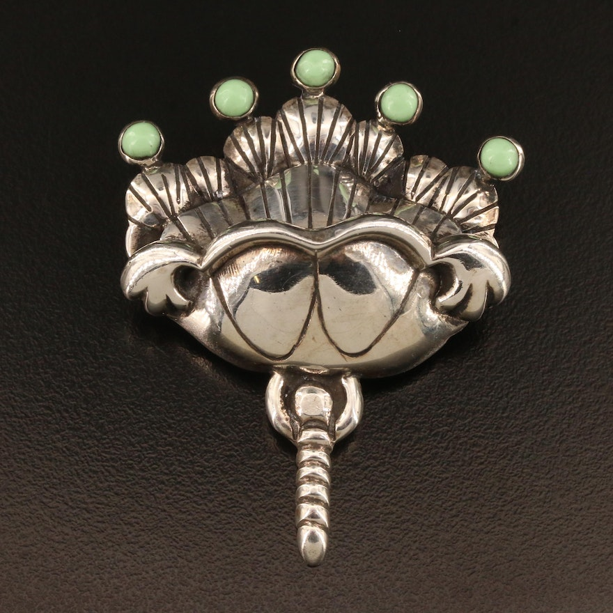 Vintage Mexican Sterling Silver Variscite Foliate Brooch