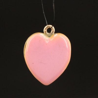 Sloan & Co. Antique 14K Enamel Heart Locket Pendant