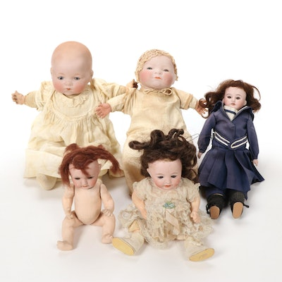 German Bisque Dolls, Early 20th Century