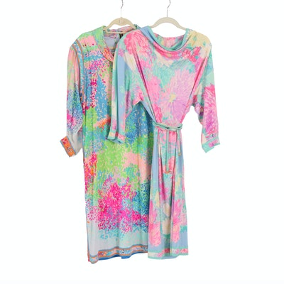 Leonard Studio Paris Floral Printed Silk Dresses