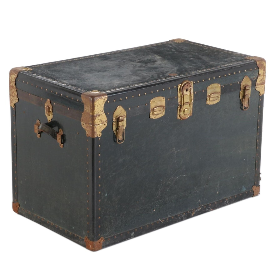 Genuine National Vulcanized Trunk Fibre Steamer Trunk, Early to Mid 20th C.