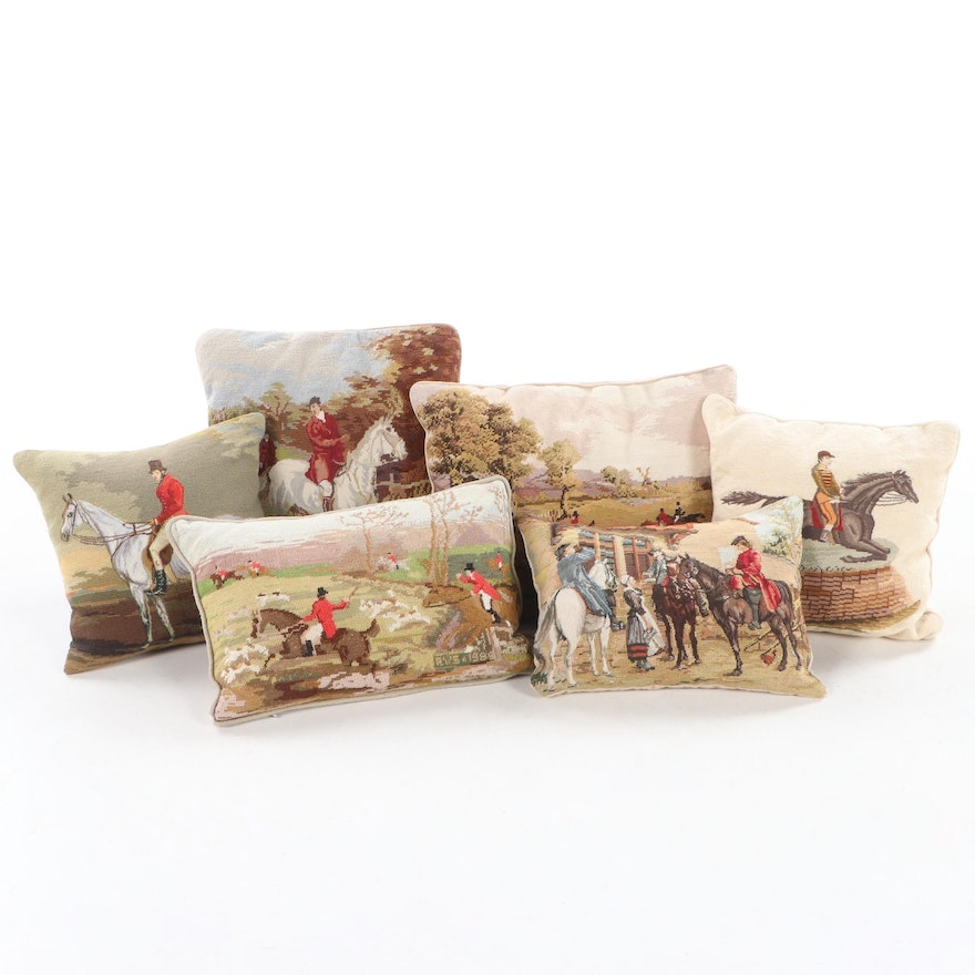 Equestrian Needlepoint and Petit Point Accent Pillows