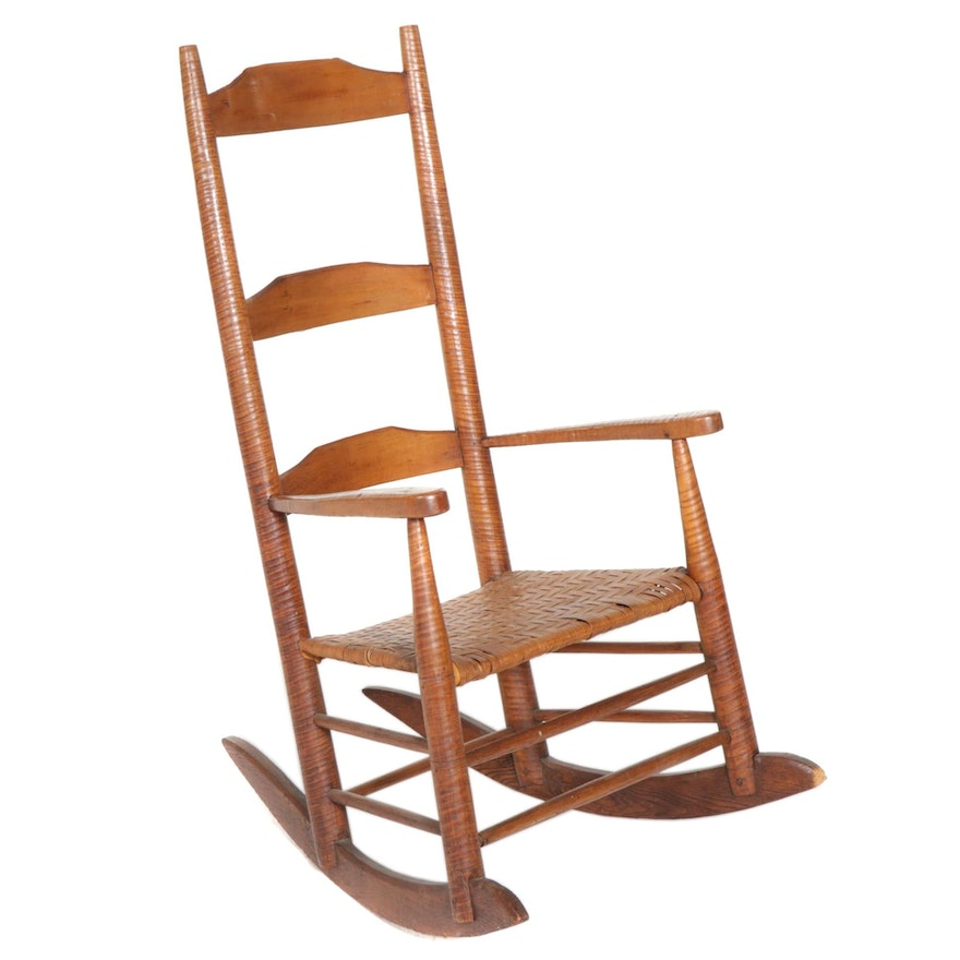 Tiger Maple Rocking Chair with Woven Strip Seat, 19th Century