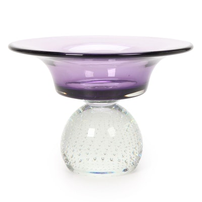Purple Dish Art Glass Compote with Controlled Bubble Base