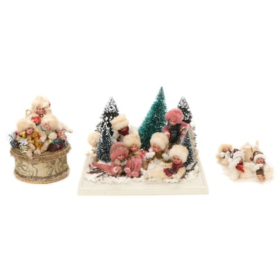 Chenille Pipe Cleaner Pixies and Snow Fight Scene, Seasonal Decorations