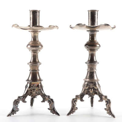 Decorative Chinese Silvertone Metal Candlesticks
