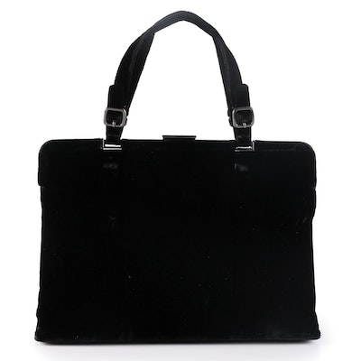 Prada Black Velvet Buckle Hinge Frame Bag