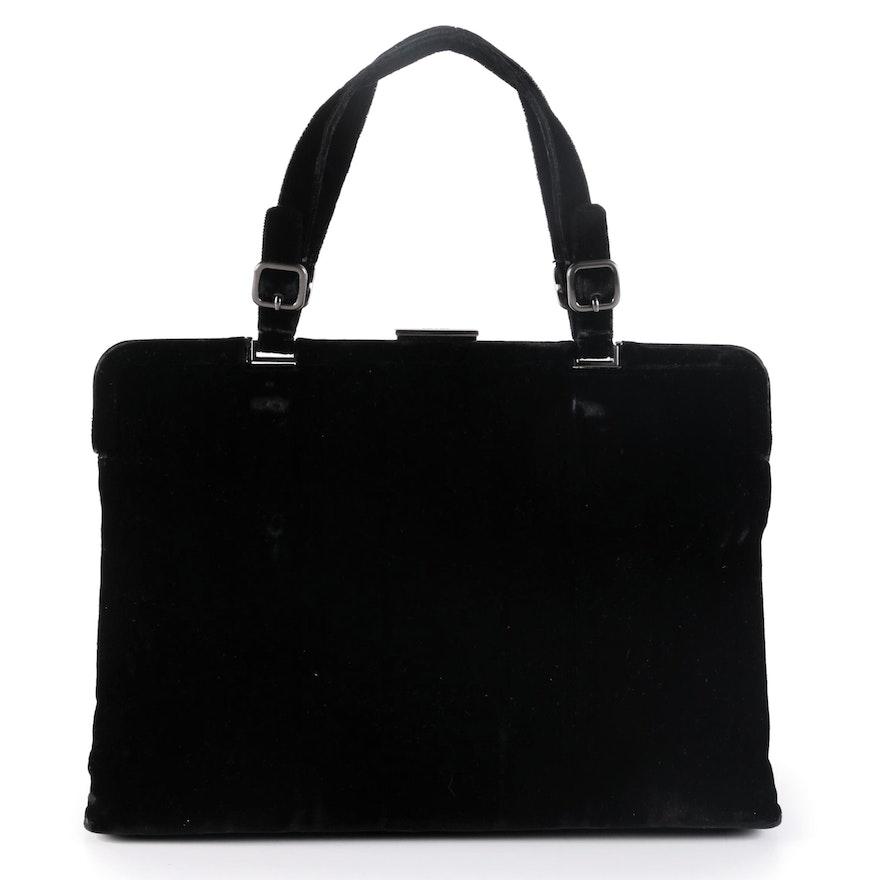 Prada Black Velvet Buckle Hinge Frame Bag