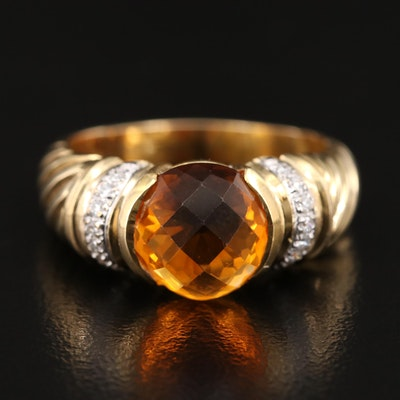 14K Citrine and Diamond Half Bezel Ring
