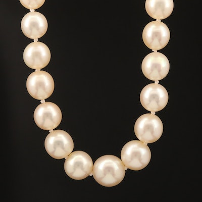 Vintage Knotted Pearl Graduated Necklace with Platinum and Gold Diamond Clasp