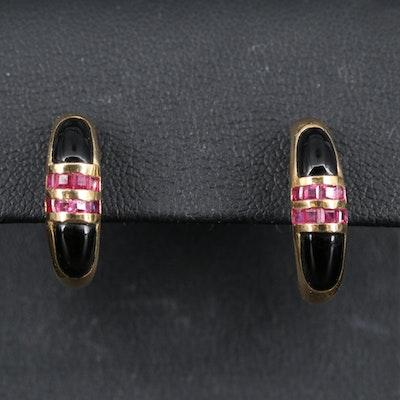 14K Ruby and Black Onyx Huggie Earrings