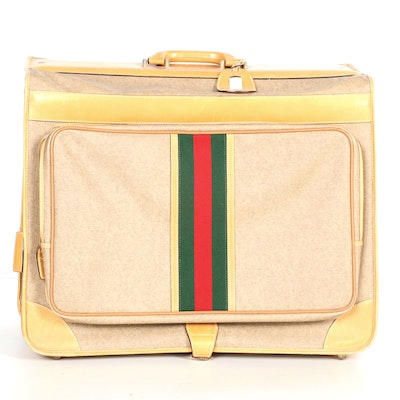 Gucci Web Stripe Folding Garment Bag Suitcase in Coated Canvas and Leather