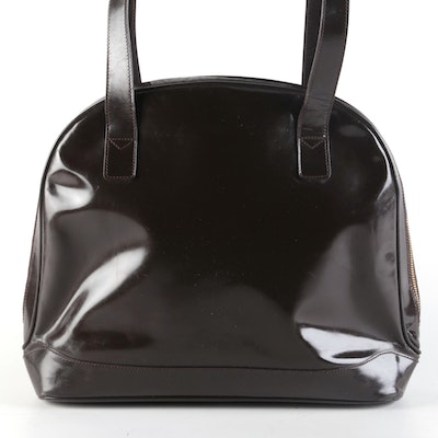 Gucci Dark Brown Patent Leather Shoulder Bag