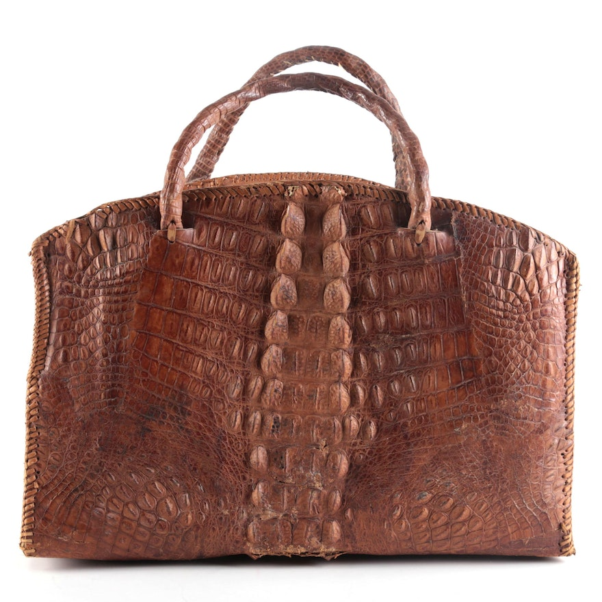 Braided Hornback Alligator Skin Domed Satchel, Vintage