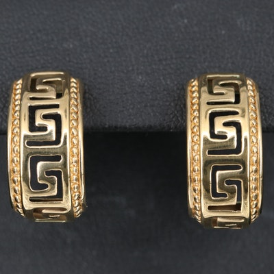 14K Greek Key Pierced J Hoop Earrings