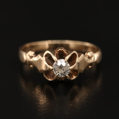 White, Wile and Warner Vintage 14K 0.20 CT Belcher Set Diamond Solitaire Ring