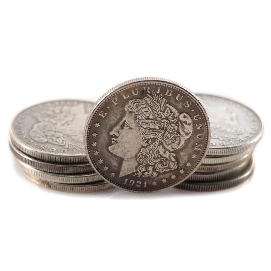 Ten Circulated Morgan Silver Dollars