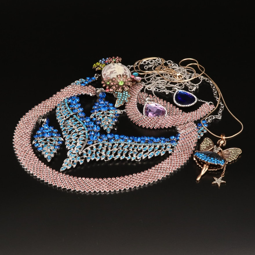 Rhinestone Jewelry Selection Featuring Fairy Pendant Necklace