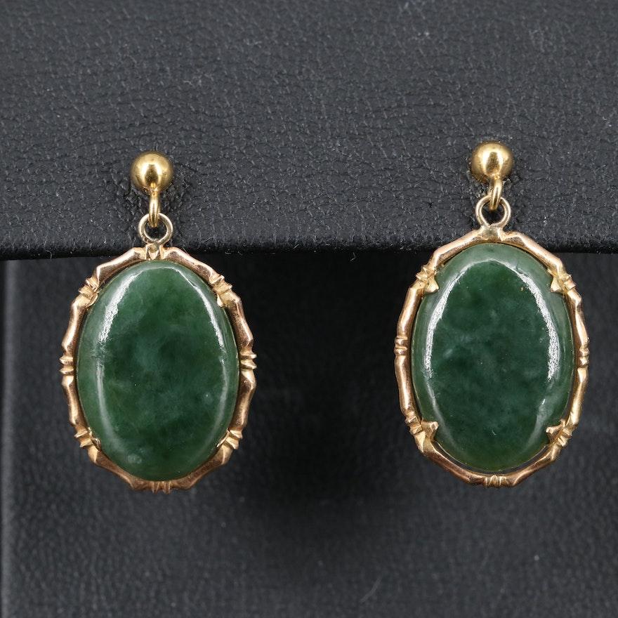 14K Jadeite Dangle Earrings