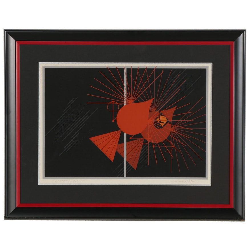 "Charley Harper Serigraph ""Seeing Red,"" 1977"