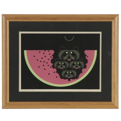 "Charley Harper Serigraph ""Watermelon Moon,"" 1973"