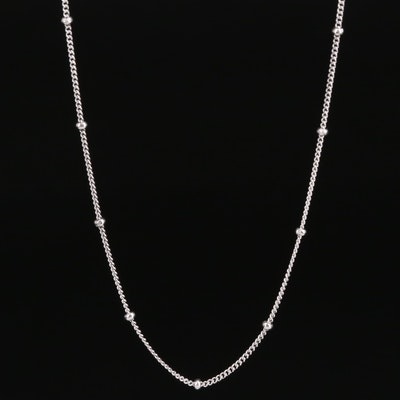 Sterling Curb Link and Bead Station Necklace