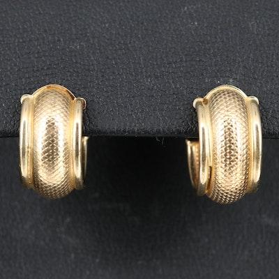 14K Cross Hatch Hoop Earrings