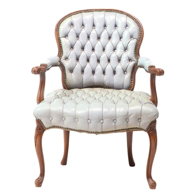 Hickory Chair Co. French Provincial Style Walnut and Tufted Leather Fauteuil