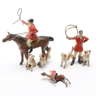 English Lead Cold Painted Fox Hunt Figurines, Early to Mid 20th Century