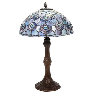 "Slag Glass ""Peacock Feathers"" Lampshade with Classical Form Cast Metal Column"