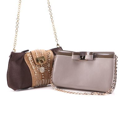 Salvatore Ferragamo Bow Leather and Beaded Canvas Clutch Purses