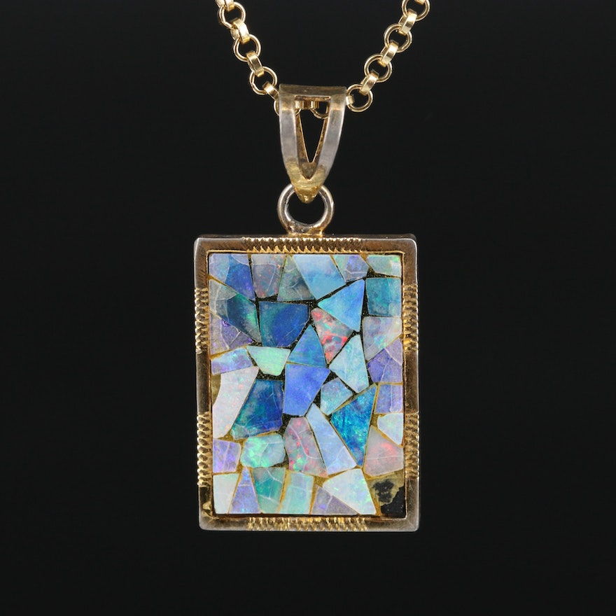 Opal Doublet Square Pendant on 14K Rolo Chain Necklace