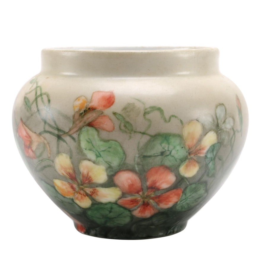 Caroline Seats Hand-Decorated Flowers on William Guerin & Co. Porcelain Bowl