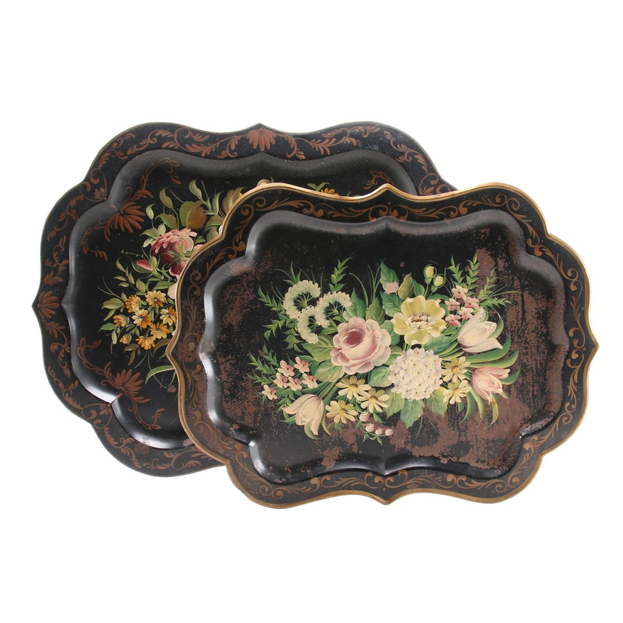 Pilgrim Art Hand-Painted Scalloped Tole Trays, Early to Mid 20th Century