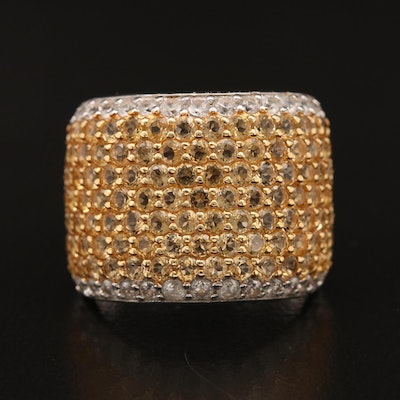 Sterling Silver Citrine and White Zircon Wide Pavé Band