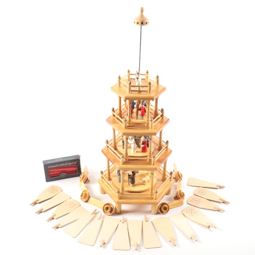 Astor Wooden German Christmas Pyramid, Late 20th Century