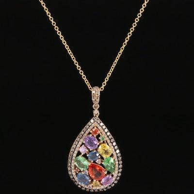 EFFY 14K Sapphire, Tsavorite and Diamond Teardrop Cluster Pendant Necklace