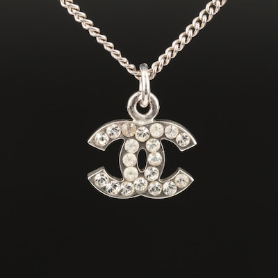 2007 Chanel Rhinestone Logo Pendant Necklace