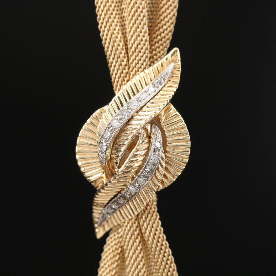 14K Gold and Diamond La Fond Stem Wind Wristwatch