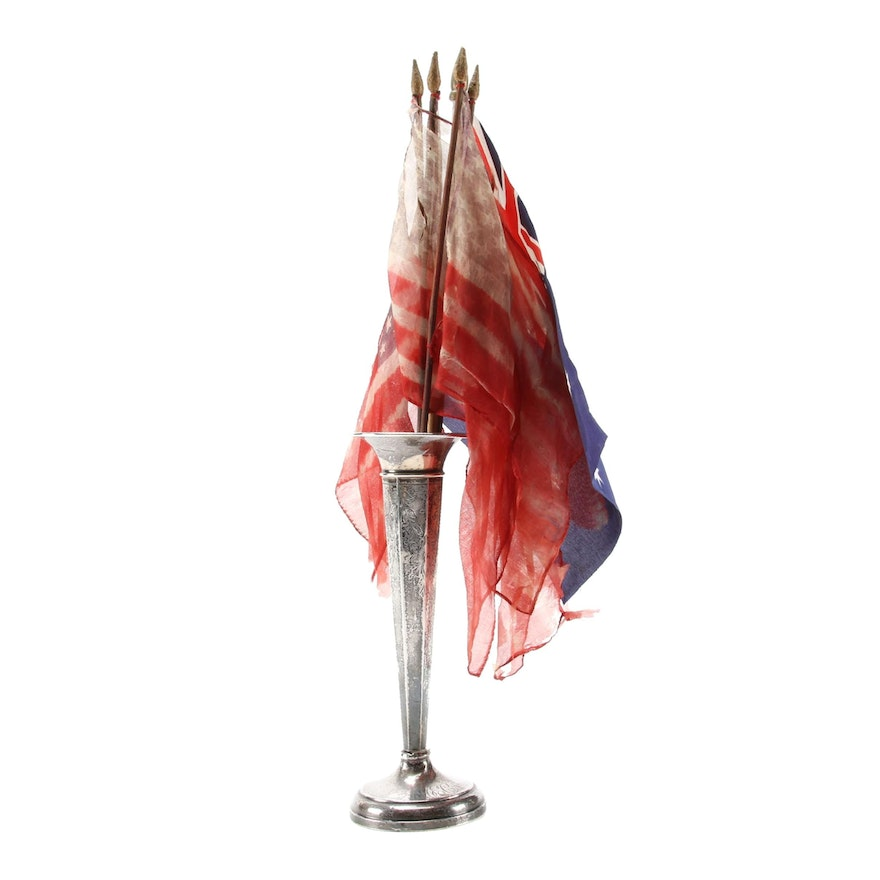 Sterling Silver Chased Bud Vase with United States and Australian Flags
