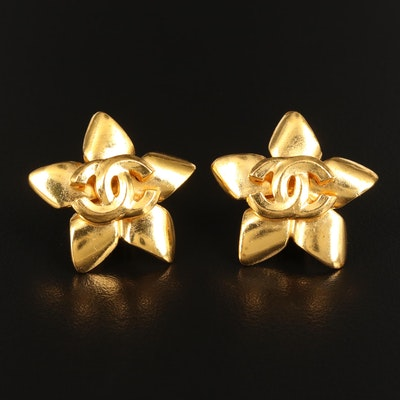 1996 Chanel Spring Collection Logo Flower Clip-On Earrings