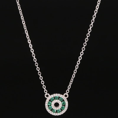 Sterling Cubic Zirconia and Glass Circular Necklace