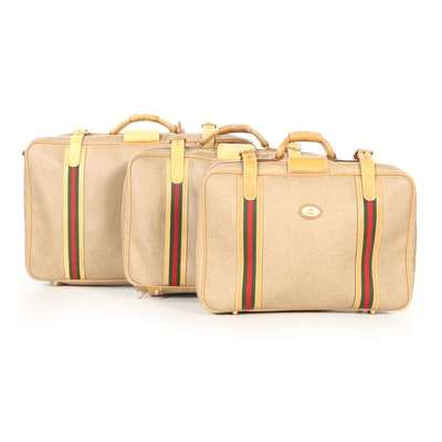 Gucci Soft-Side Luggage Set in Web Stripe Coated Canvas with Leather Trim