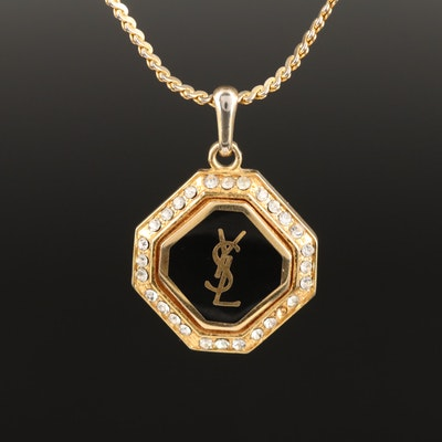 Vintage Yves Saint Laurent Rhinestone Logo Necklace